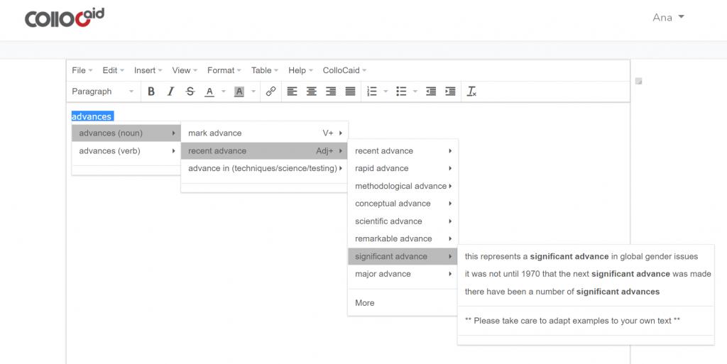 Screenshot of ColloCaid prototype interface
